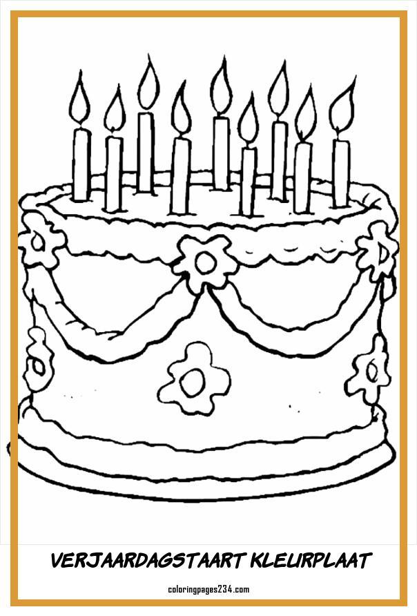 verjaardagstaart kleurplaat kleurplaten234 kleurplaten234