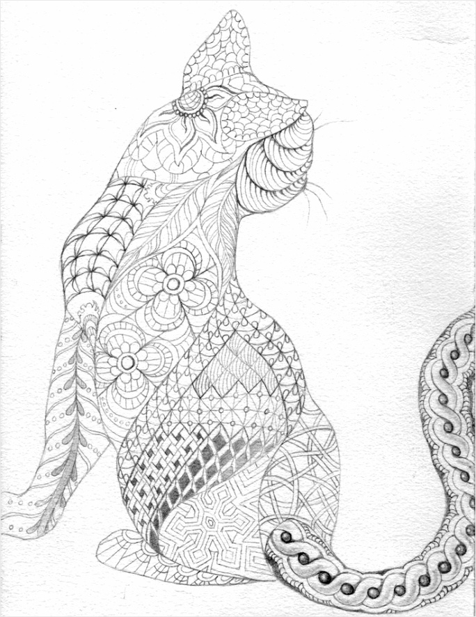 cat abstract doodle zentangle zendoodle paisley coloring pages colouring adult detailed advanced printable kleuren voor volwassenen coloriage pour adu aiawi