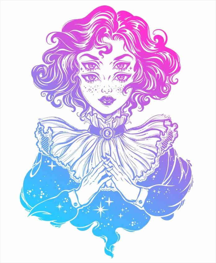 het gotische hoofdportret van heksenmeisje met krullend haar en vier ogen tzate