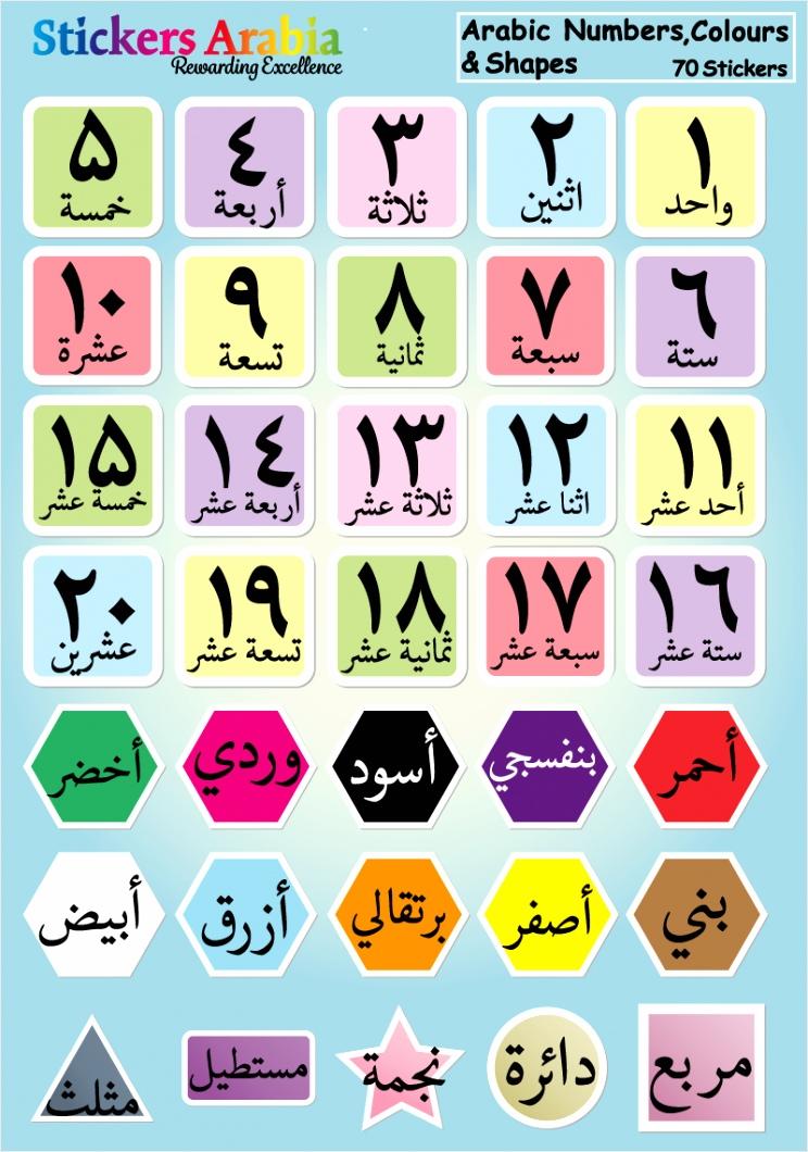 stickers cijfers kleuren vormen arabisch ueuat