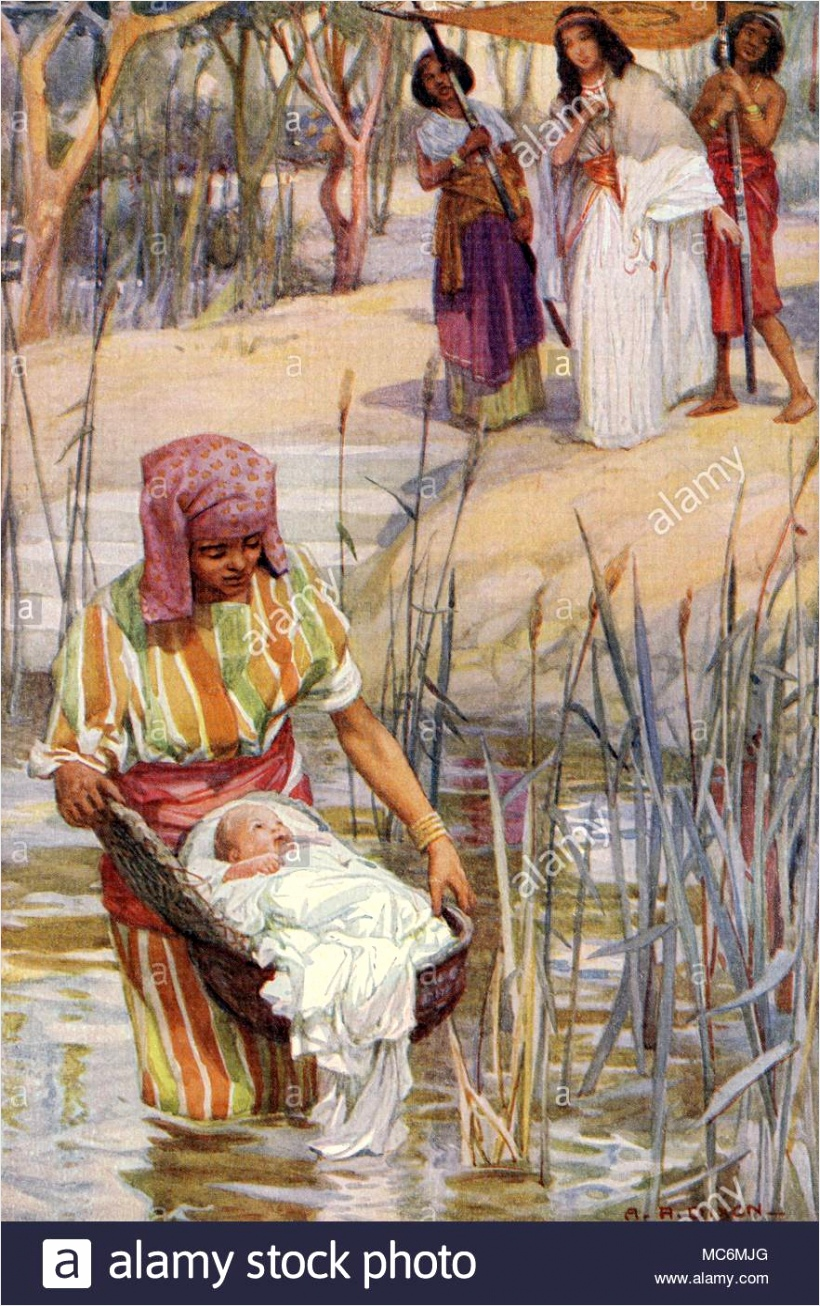 christian old testament jewish myth moses the finding of the infant moses who had been placed on the nile in a rush basket by his mother to save him from the egyptians illustration by arthur dixon for theodora w wilson the old testament story 1926 MC6MJG wraqw