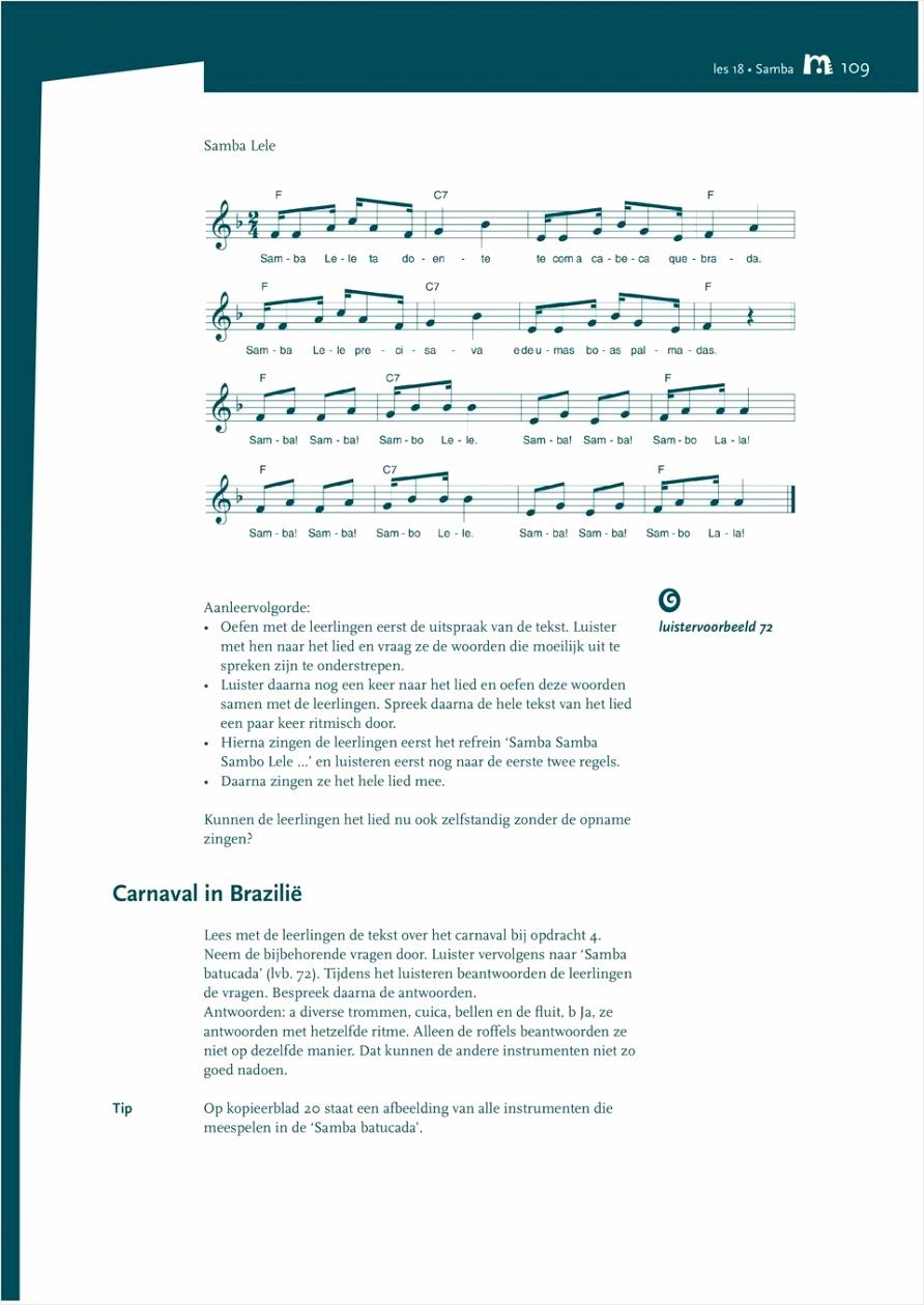 Les 18 samba de leerlingen ervaren dat muziek iets kan vertellen over een land of cultuur ze kunnen ritmisch improviseren doel eutto