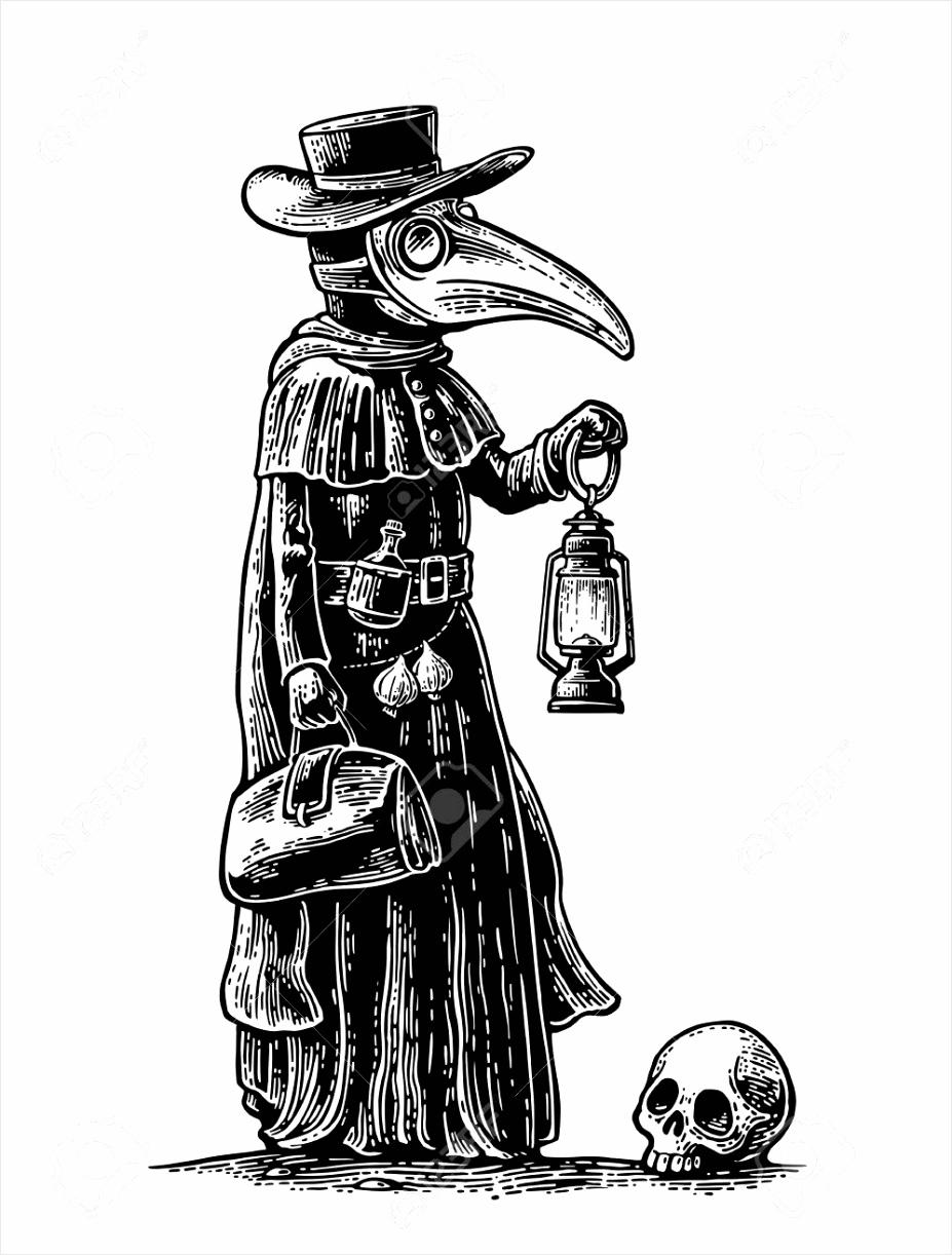 photo plaag arts met vogel masker koffer lantaarn knoflook en hoed vector zwarte gravure illustratie geïsole wkuaa
