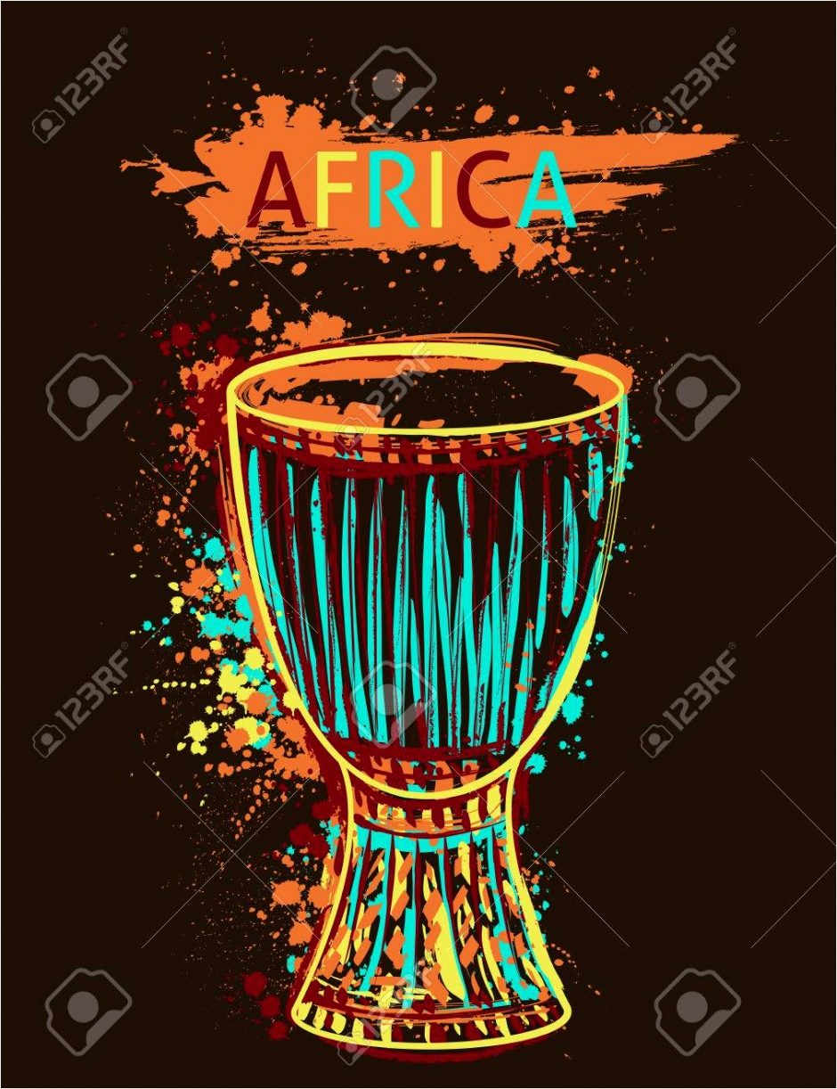 photo stock vector african drum tam tam with splashes in watercolor style uiyui