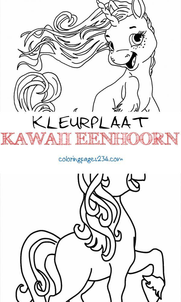 Coloring Pages Cute Unicorns at GetDrawings kleurplaat kawaii eenhoorn, source:getdrawings.com