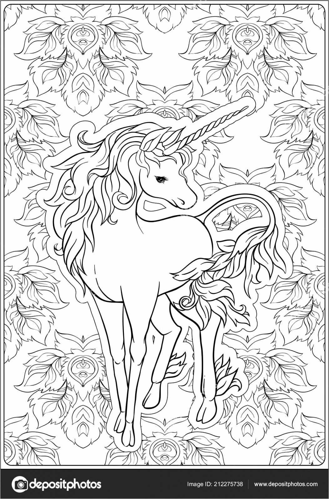 depositphotos stock illustration unicorn and fantastic vintage flowers wxiat