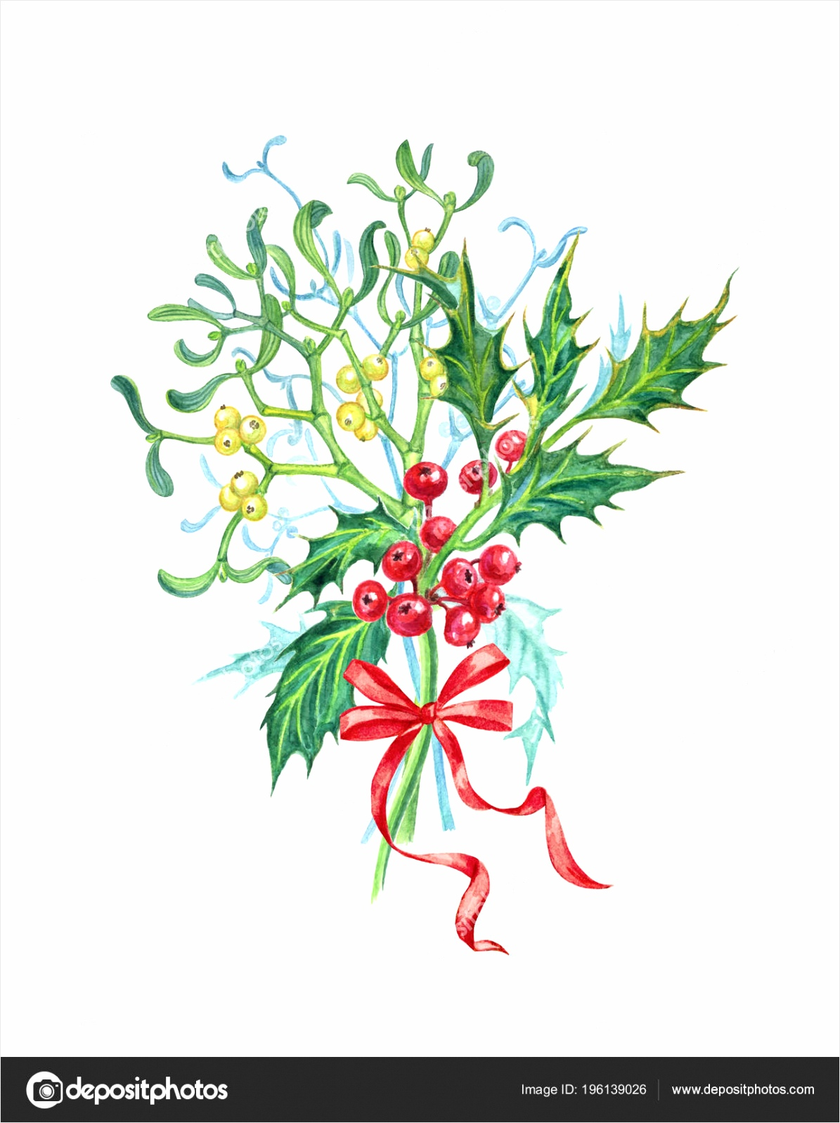 depositphotos stock photo bouquet mistletoe holly bow christmas pyuwy