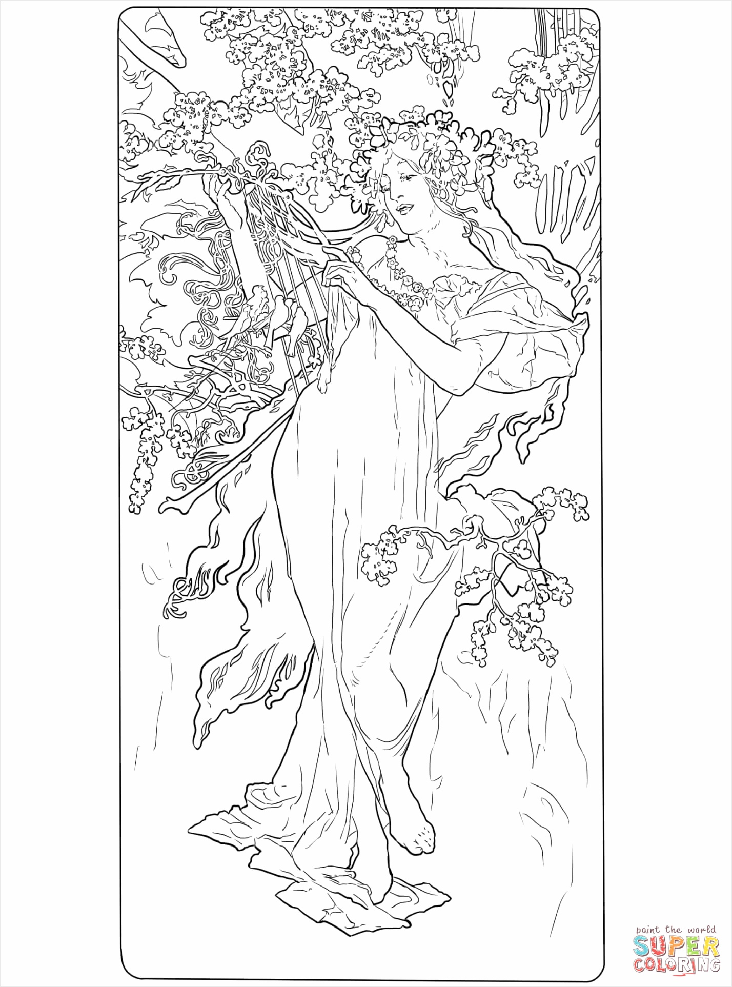 spring by alphonse mucha coloring page tterl
