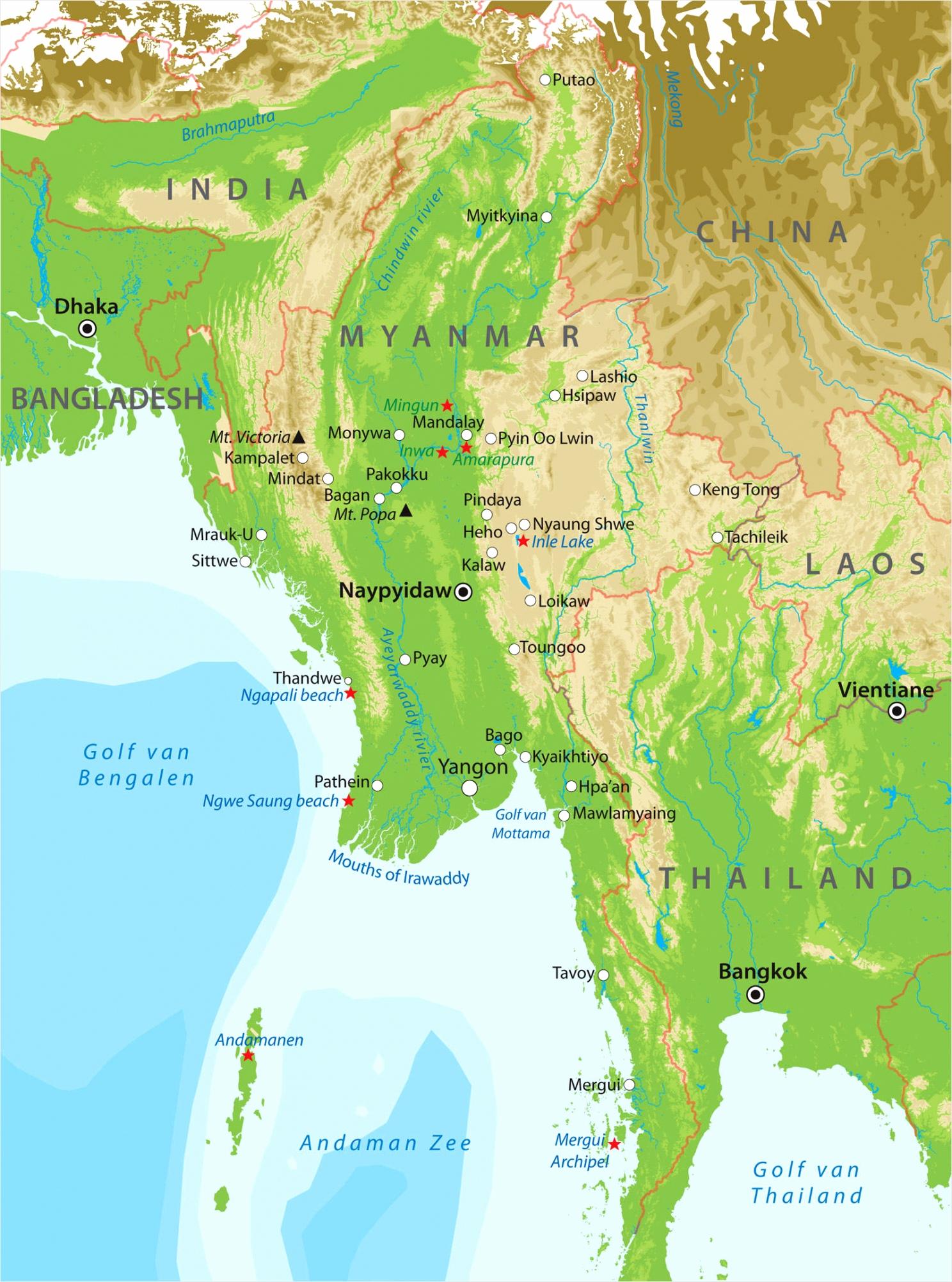 Basiskaart Myanmar paeru