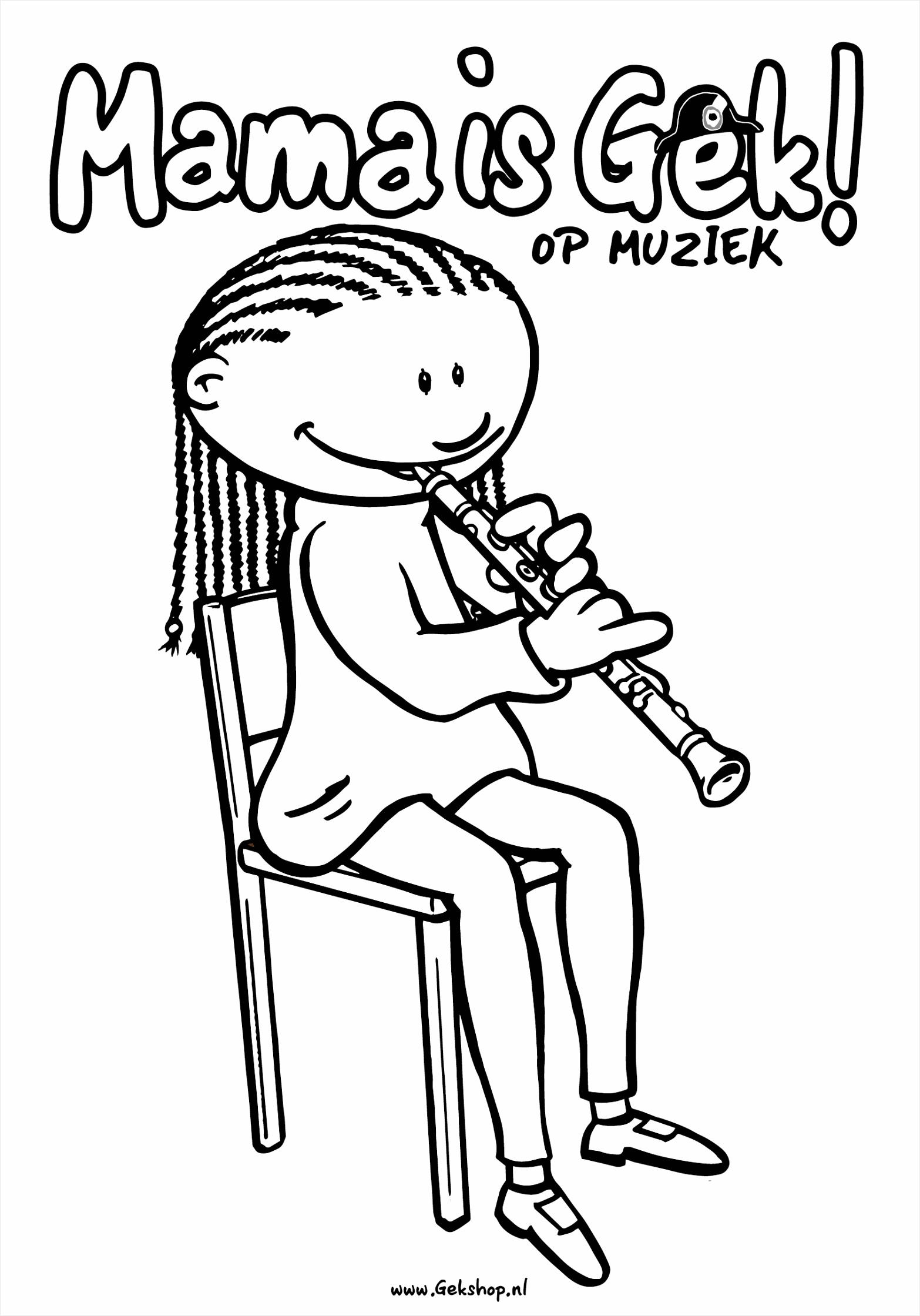 Mama is gek op muziek kleurplaat klarinet urttt
