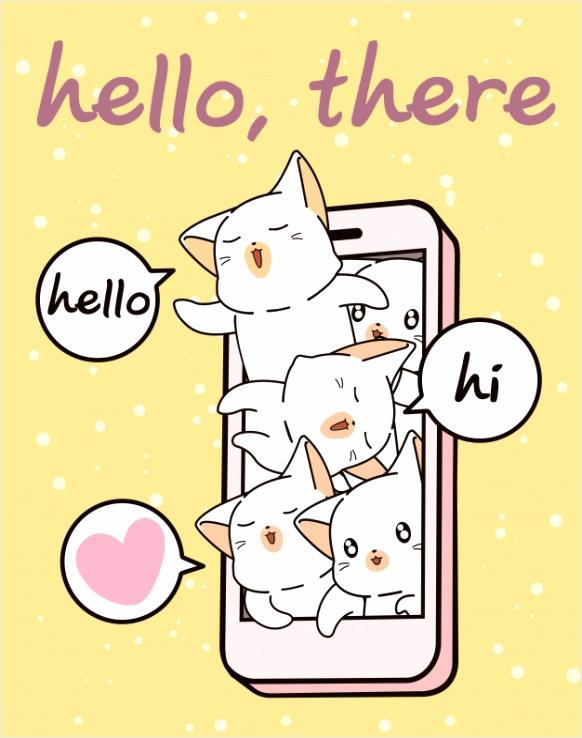 kawaii kat tekens in mobiele telefoon 682 ruoap