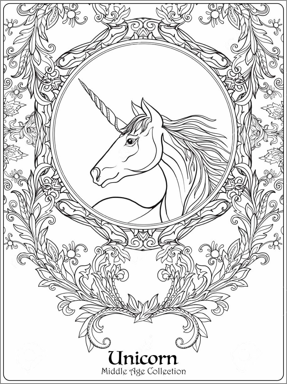 photo stock vector unicorn in vintage decorative floral mandala frame illustration coloring book for adult and older ch aiwow