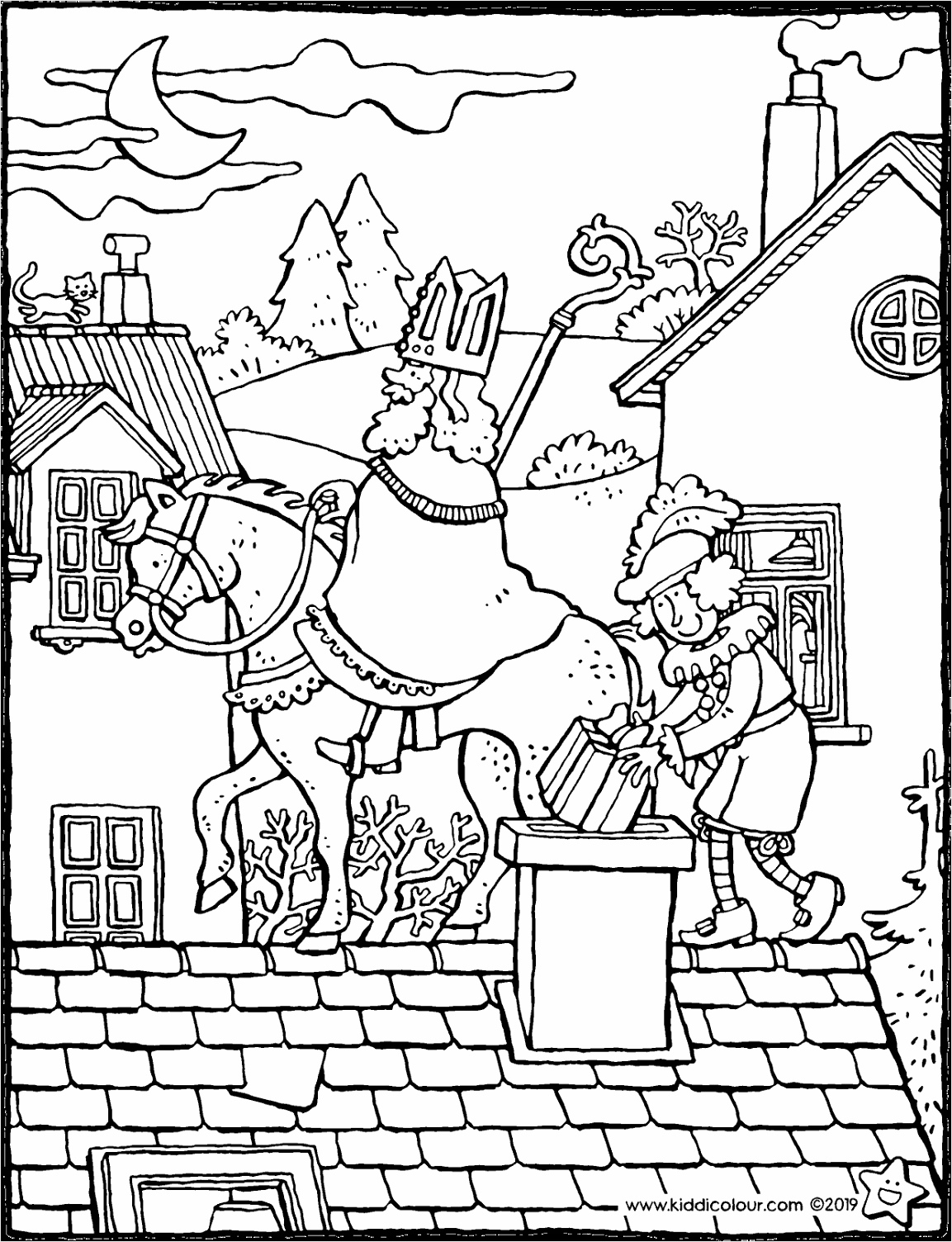Sint en Piet op het dak kleurplaat kleurprent tekening 01V tortt
