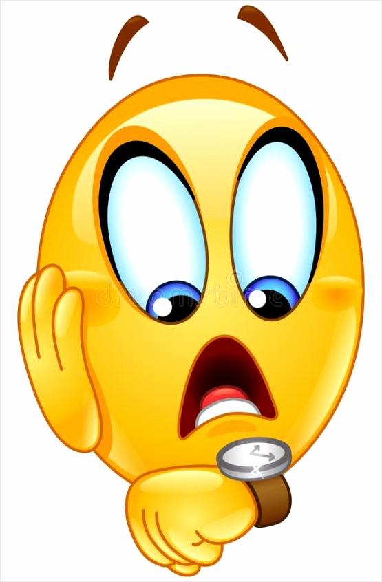 recente emoticon met horloge beklemtoonde emoji laat voor iets zijn controleren pwria