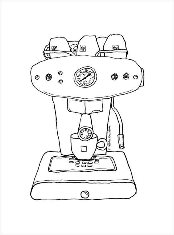kleurplaat espressomachine yewue