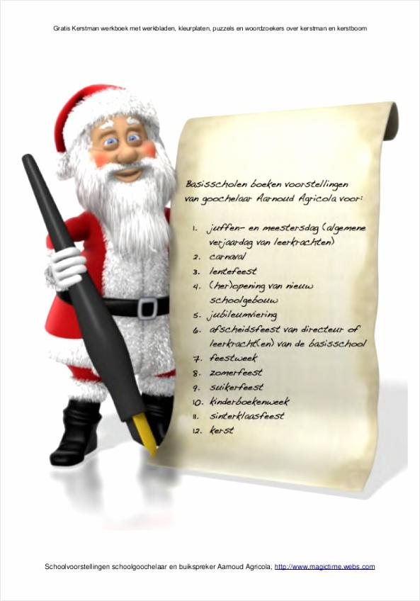 kerstman werkboek met werkbladen van schoolgoochelaar aarnoud agricola 3 638 rwioe