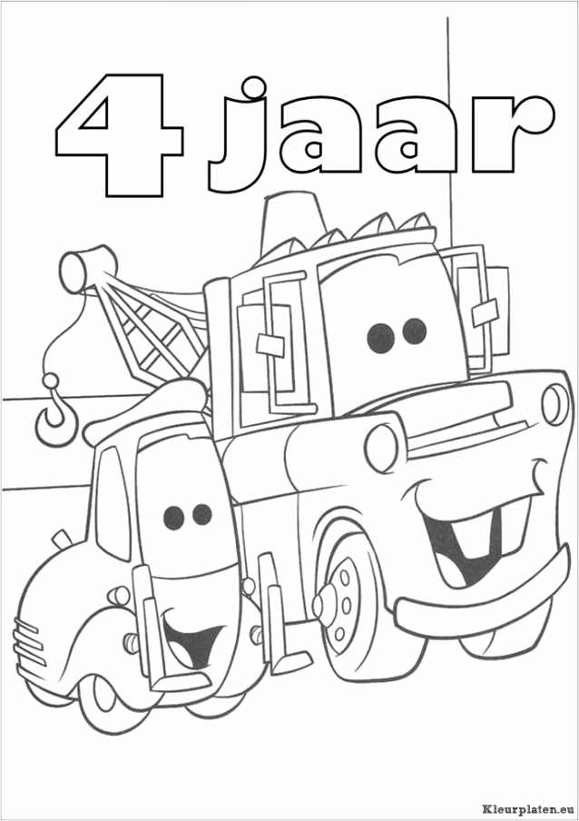 cars verjaardag kleurplaat iioty