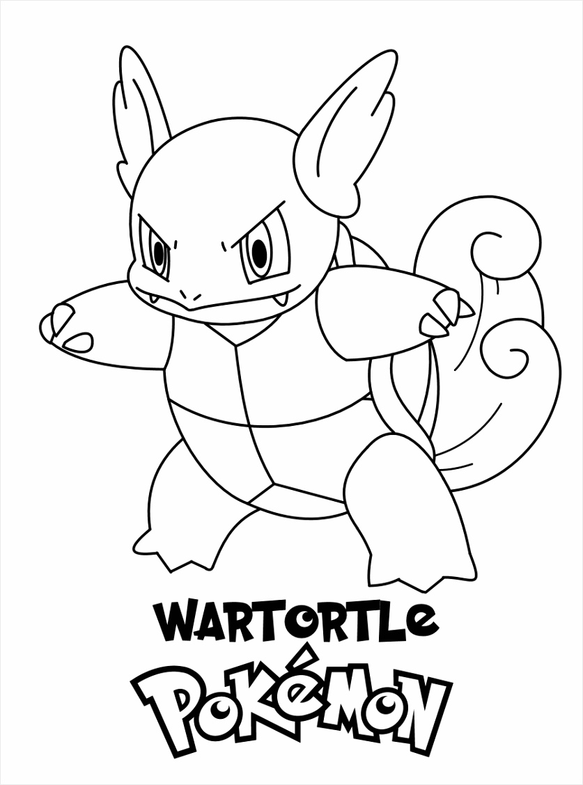Wartortle Pokemon Coloring Page iyrne