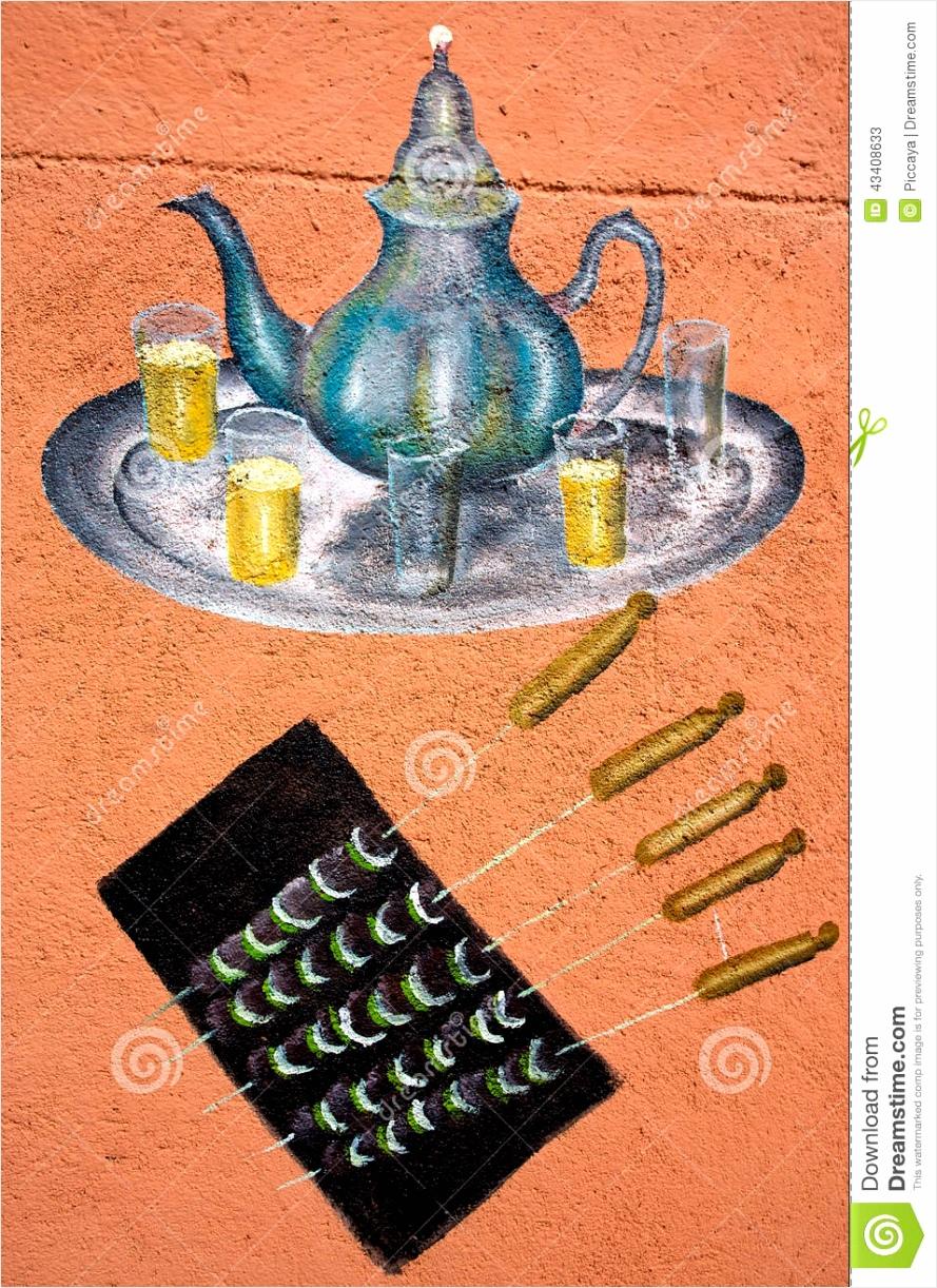 tekening van traditioneel marokkaans thee en voedsel rutiu