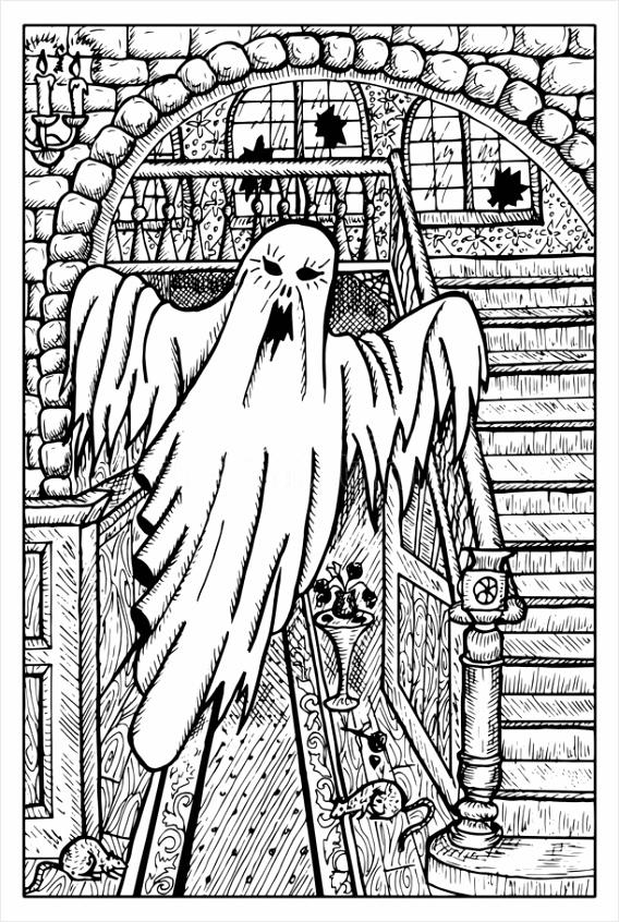 eng spook spookhuis gegraveerde fantasieillustratie aotaj
