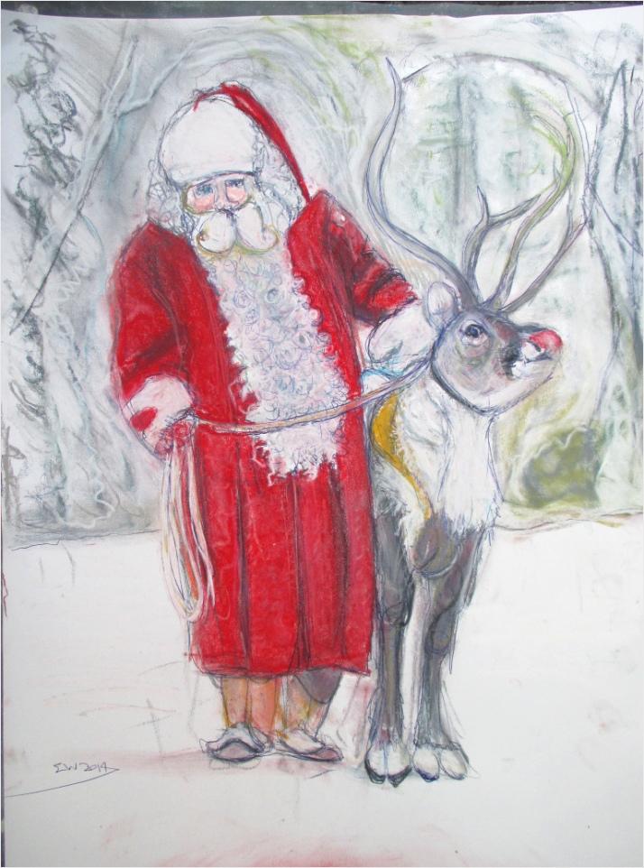 santa with rudolf kerstman met ren r 2014 ruyai