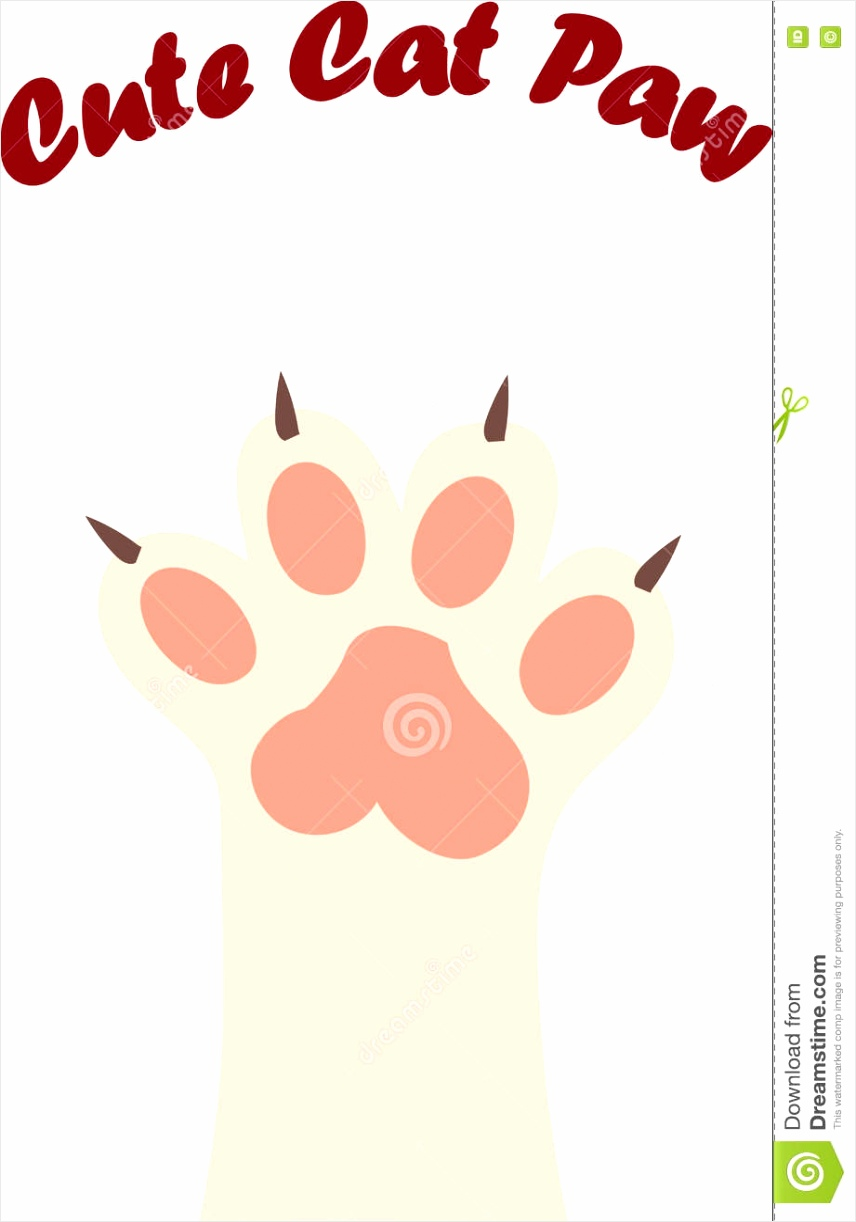 cat paw print claws original trendy vector illustration trkoa