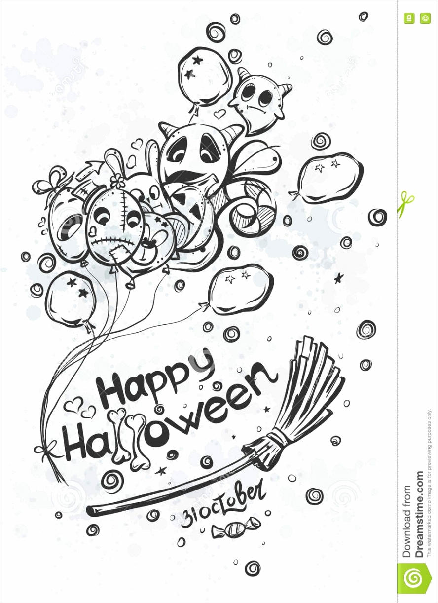 spook met ballen op bezemsteel halloween krabbels ptawi
