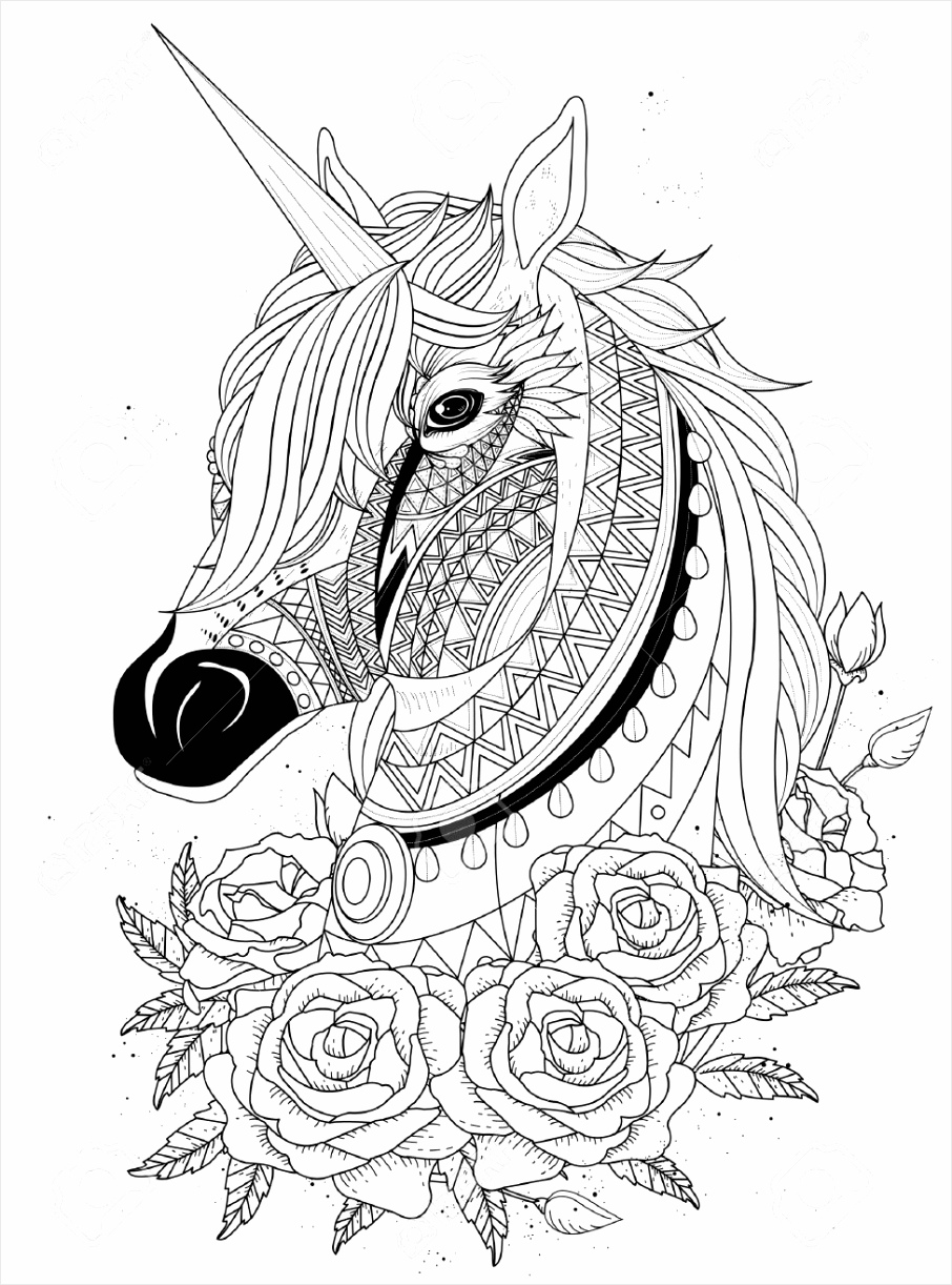 photo stock vector sacred unicorn with roses adult coloring page oripr