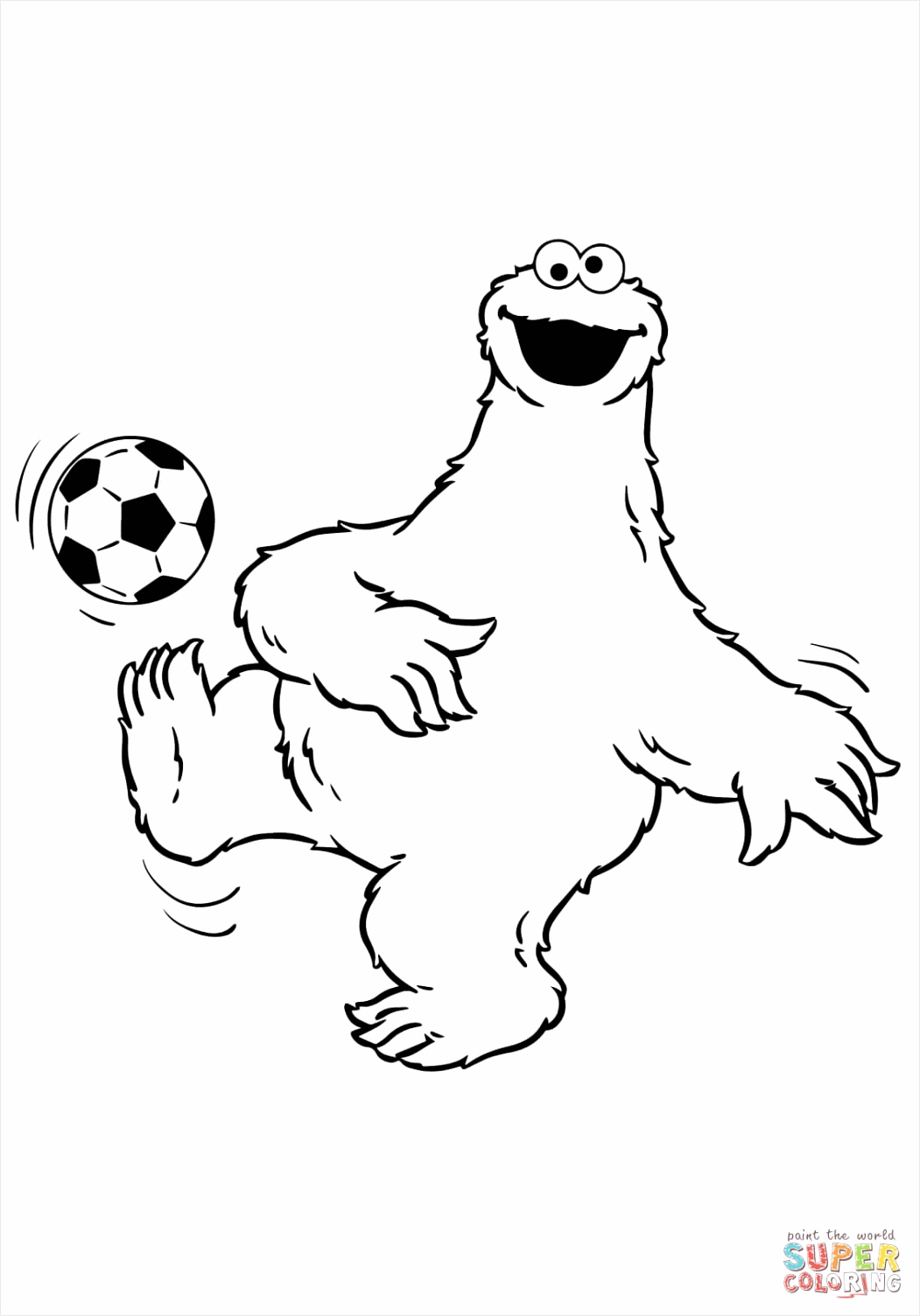 cookie monster plays soccer coloring page utotp