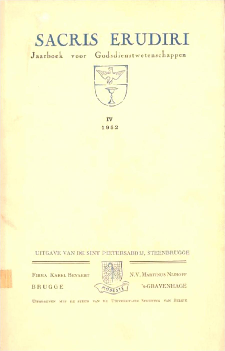 sacris erudiri volume 04 1952 iaewr