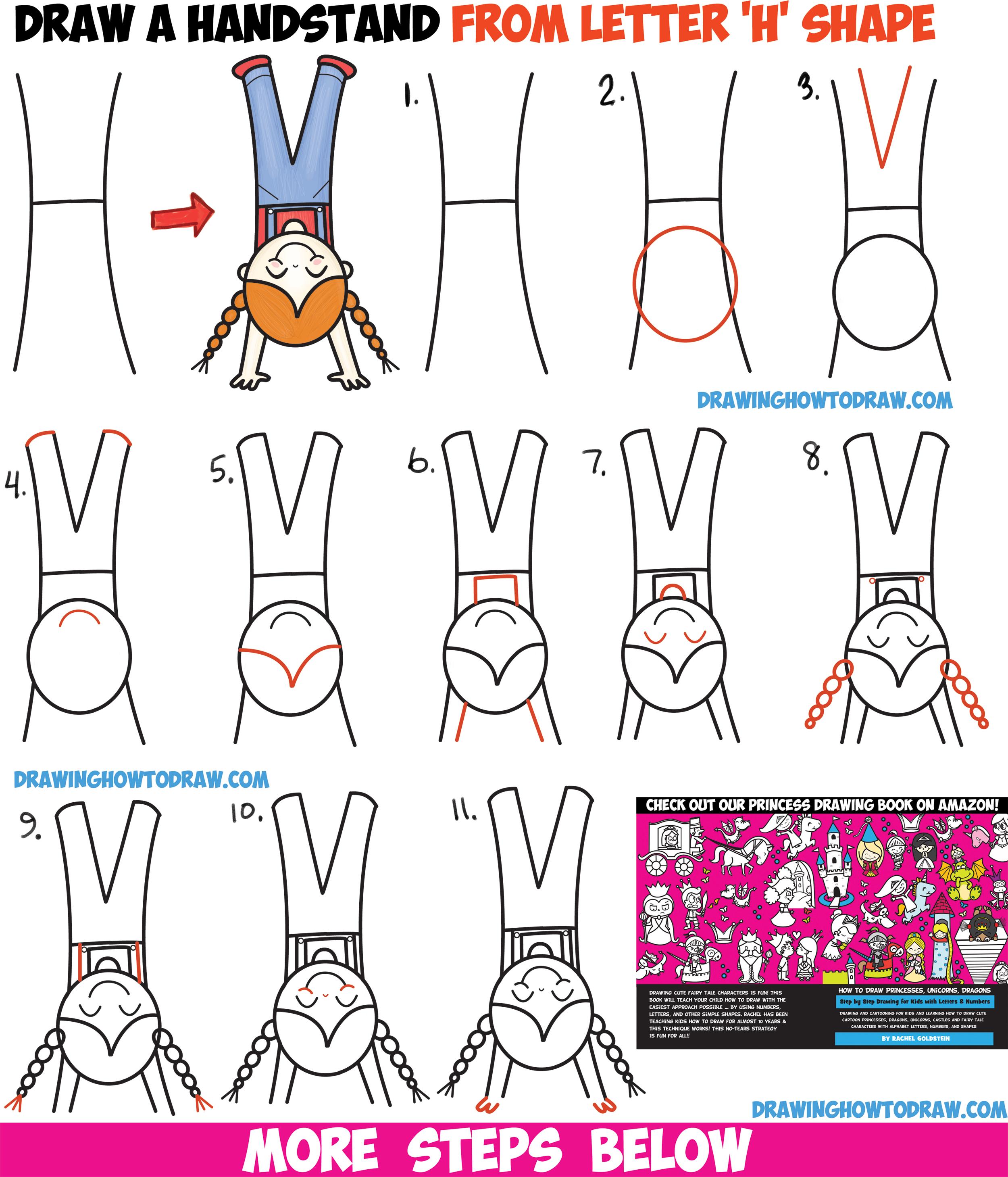 How to Draw a Cute Cartoon Kawaii Girl Doing a Handstand ...
